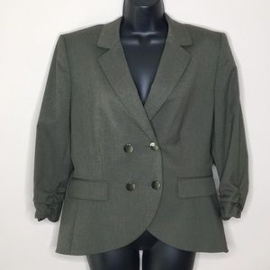 Antonio Melani Ruched Sleeve Blazer Size 12 Green